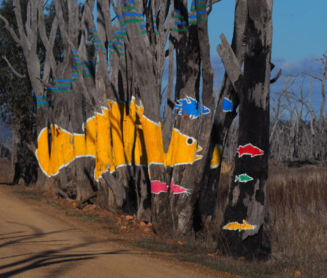 Artwork by Tin Bowtell, Winton Wetlands. Photo: Marjie Courtis
